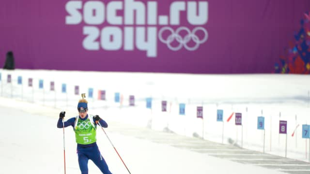 Norway's Johannes Thingnes Boe in the 4 x 7.5 km Relay at the Sochi 2014 Winter Games, February 22, 2014. (Photo by Harry How/Getty Images)