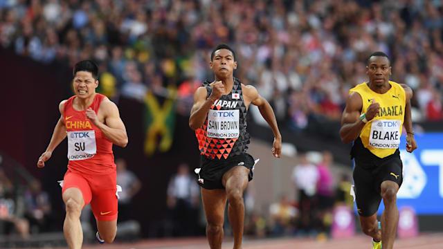 Abdul Hakim Sani Brown alongside Yohan Blake in the 100m semis during the 2017 World Athletics Championships in London.