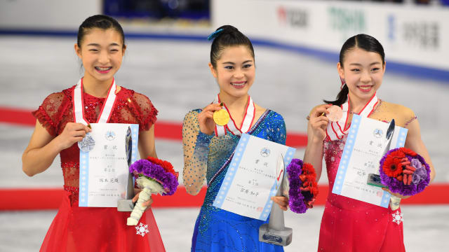 2018 Japan Figure Skating Championships podium: Sakamoto (second), Miyahara (first), Kihira (third)