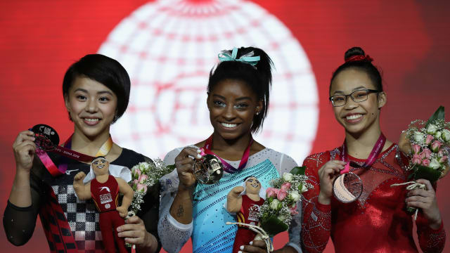 All-around podium (L-R): runner-up Mai Murakami, winner Simone Biles, bronze medallist Morgan Hurd