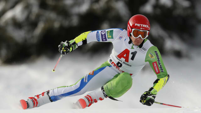 Zan Kranjec on his way to victory in the Saalbach giant slalom
