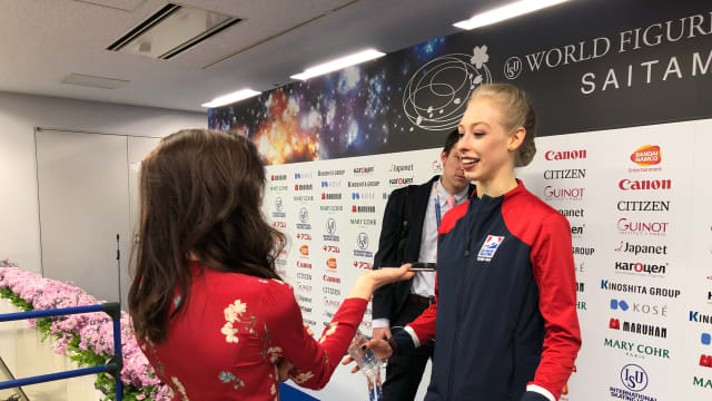 Bradie Tennell chats to Meryl Davis after her free skate
