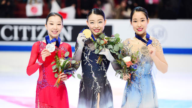 Four Continents runner-up Elizabet Tursynbaeva (L) and third-placed Mai Mihara (R) meet again in the Winter Universiade