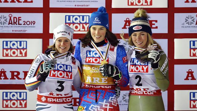 Giant slalom podium (L-R): runner-up Viktoria Rebensburg, winner Petra Vlhova, bronze medallist Mikaela Shiffrin