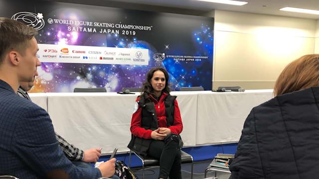 Women's champion Alina Zagitova speaks to the media