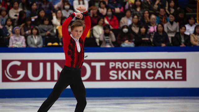Mikhail Kolyada performs during his free skate