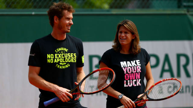 Andy Murray and his coach Amelie Mauresmo in 2015