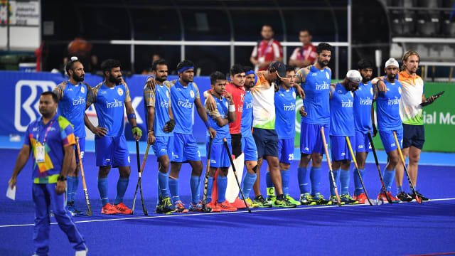 India players look on during the 2018 Asian Games semi-final shootout against Malaysia