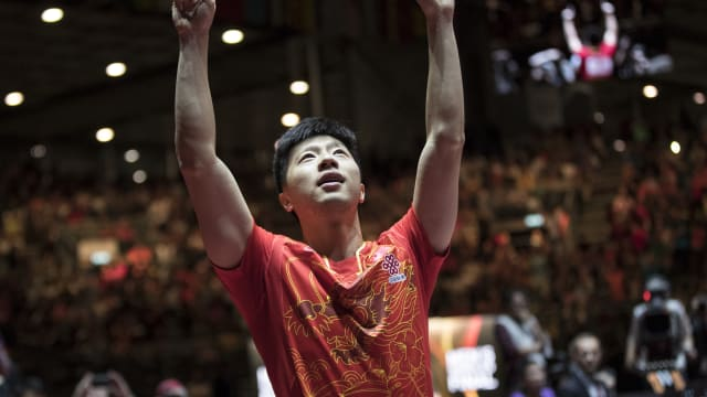 Ma Long celebrating his win at the 2017 ITTF World Championships