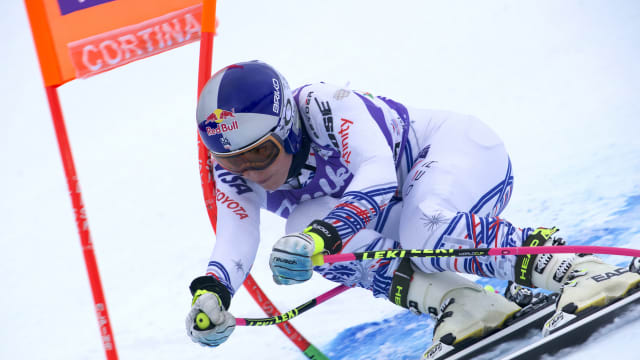 Lindsey Vonn during the downhill training session in Cortina