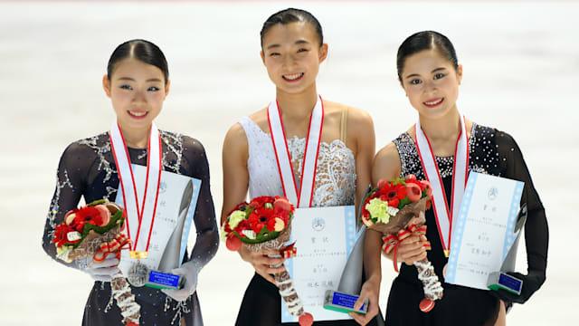 2019 Japan Figure Skating Championships podium (L-R): runner-up Rika Kihira, winner Kaori Sakamoto, third-placed Satoko Miyahara