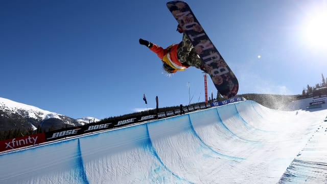Chloe Kim competing at the 2017 FIS Snowboard World Cup