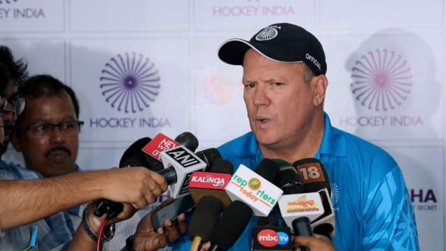 India head coach Graham Reid faces the media ahead of the FIH World Series in Bhubaneswar (picture courtesy of Hockey India)
