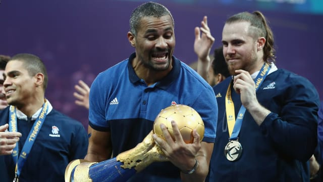 Head coach Didier Dinart celebrates after France retained their world title in Paris in 2017