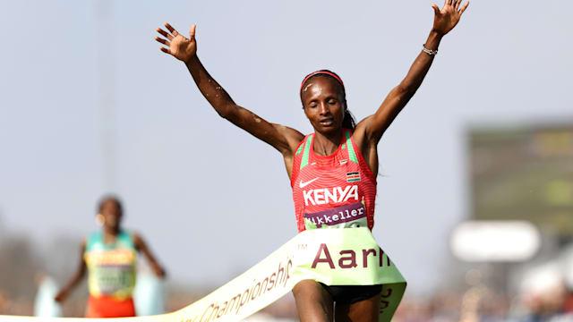Hellen Obiri wins the senior women's race at the 2019 World Cross Country Championships in Aarhus, Denmark