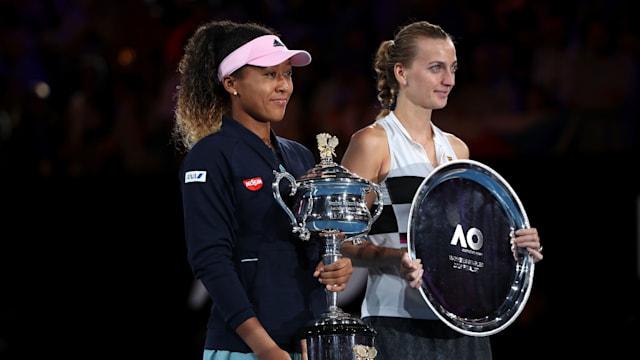 2019 Australian Open champion Naomi Osaka with runner-up Petra Kvitova