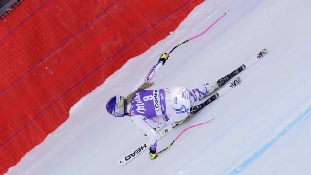Lindsey Vonn in action during the World Cup Women's Downhill in Cortina d'Ampezzo Italy