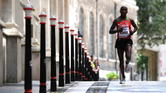 Geoffrey Kirui on his way to winning the marathon at the 2017 IAAF World Championships in London