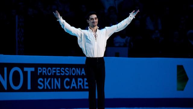 Spain's Javier Fernandez celebrates after winning the 2019 European Championships