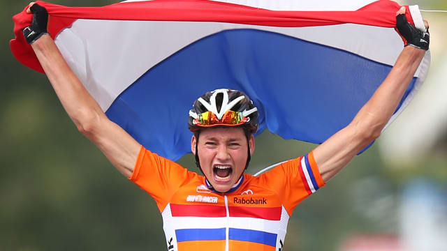Mathieu van der Poel wins the junior road race at the 2013 Road World Championships in Florence, Italy.