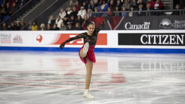 Olympic champion Alina Zagitova skates during the Ladies' Free Skate at the 2018 ISU Grand Prix Final in Vancouver.