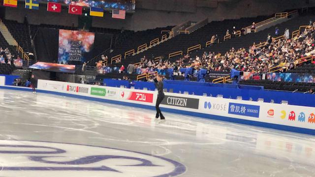 Elizabet Tursynbaeva jumps during practice at Figure Skating Worlds