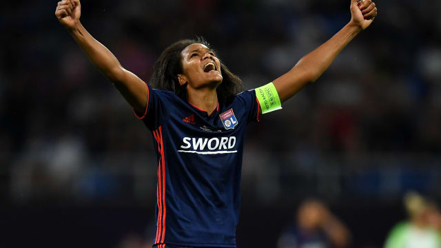 Olympique Lyonnais captain Wendie Renard reacts during the 2018 UEFA Champions League Final win over Wolfsburg in Kiev