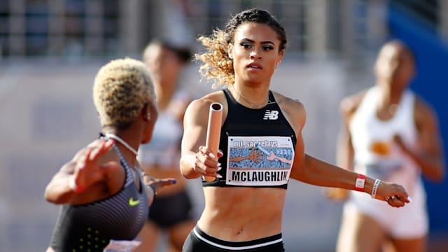 Sydney McLaughlin running at the 2019 Mt SAC relays in Walnut, California