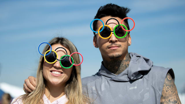 Street skaters Leticia Bufoni of Brazil and Nyjah Huston of USA get hyped for the Olympics with some themed sunglasses