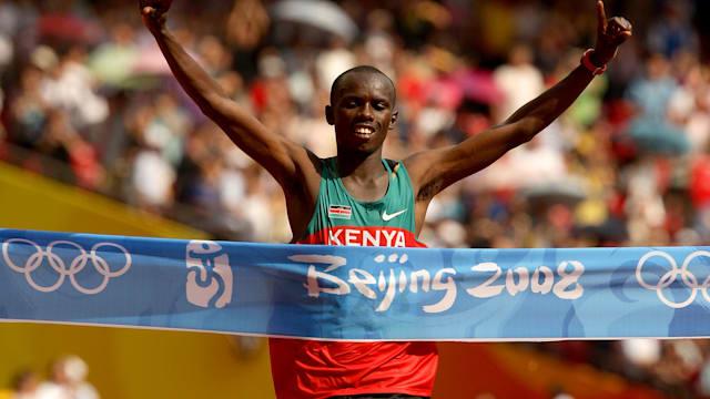 Samuel Wanjiru winning Marathon Olympic gold at Beijing 2008.