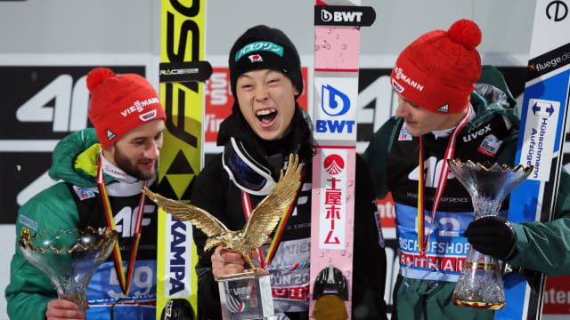 2019 Four Hills final podium (L-R): runner-up Markus Eisenbichler, Ryoyu Kobayashi, third-placed Stephan Leyhe