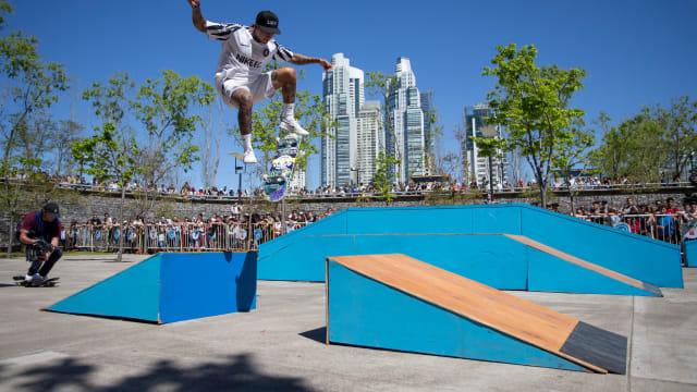 Street skateboarder Nyjah Huston doing a demo at the Youth Olympic Games at Buenos Aires