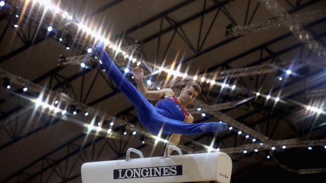 Max Whitlock performing on pommel horse at the 2018 Artistic Gymnastics Championships in Doha