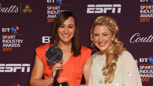 Jessica Ennis-Hill and Laura Kenny at the BT Sport Industry Awards in April 2017