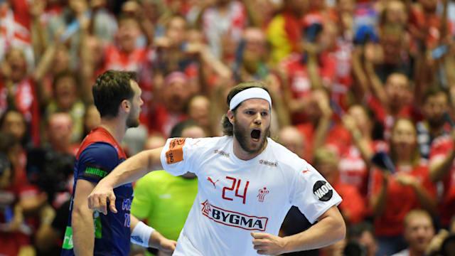 Mikkel Hansen celebrates a goal in Denmark's win over Norway in the 2019 World Men's Handball Championship Final in Herning