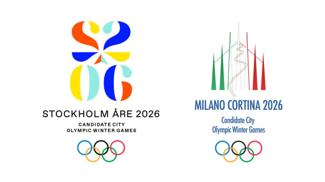 The logos of the two candidates to host the 2026 Winter Olympics.