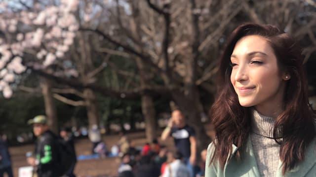 Meryl Davis in Yoyogi Park as cherry blossoms bloom