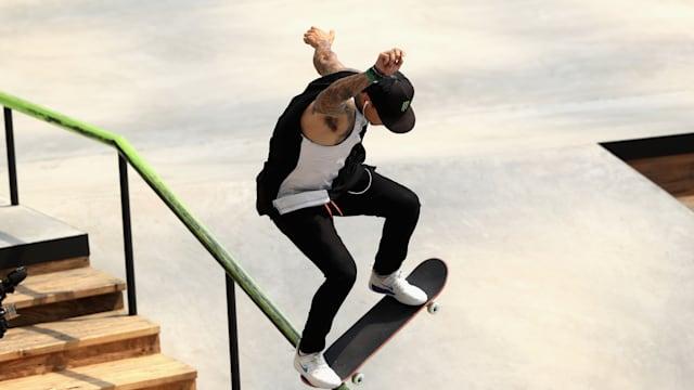 An action shot of USA's Nyjah Huston at the X Games.