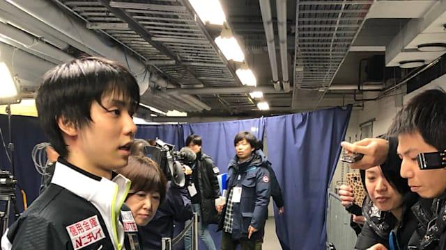 Yuzuru Hanyu speaks to the press at GP Helsinki 2018