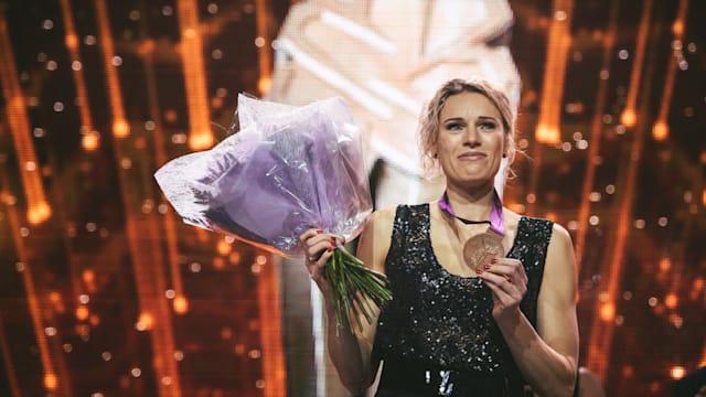 Austra Skujyte finally receives her heptathlon bronze medal from London 2012