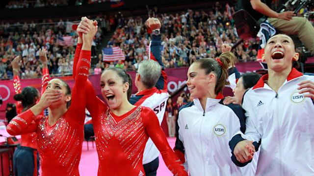 Jordyn Wieber congratulates Aly Raisman (far left) with USA teammates McKayla Maroney and Kyla Ross