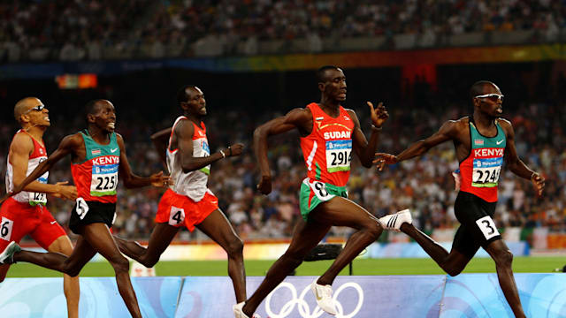 Wilfred Bungei (far right) winning 800m gold at Beijing 2008.
