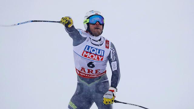 Kjetil Jansrud celebrates after his winning run in the World Championship downhill at Are