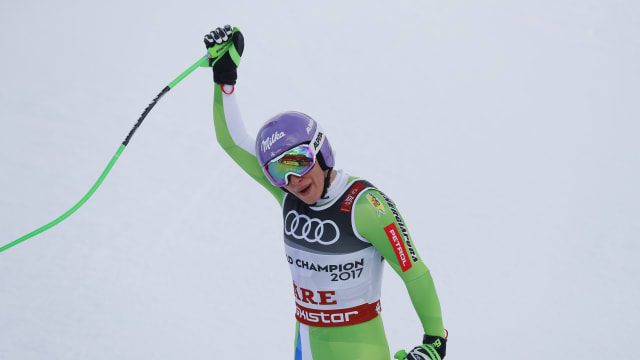 Ilka Stuhec celebrates after her winning downhill run at the World Championships in Are, Sweden