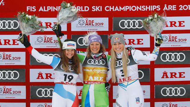 Women's downhill podium (L-R): runner-up Corinne Suter, winner Ilka Stuhec, third-placed Lindsey Vonn
