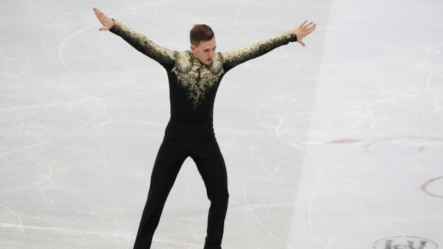 Russian champion Maxim Kovtun during his free skate at the European Championships in Minsk