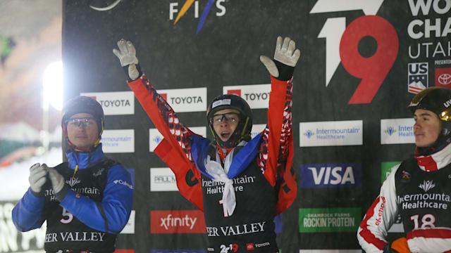 Maxim Burov celebrates winning the men's aerials at the Freestyle Ski World Championships at Deer Valley, Utah