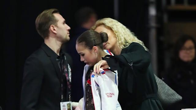 Coach Eteri Tutberidze consoles Alina Zagitova at the Grand Prix Final in Vancouver in December 2018