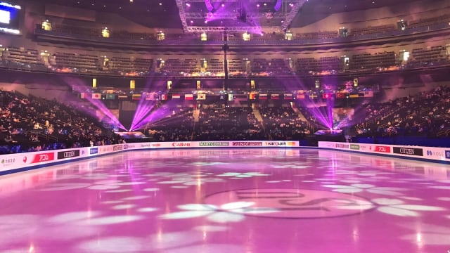 The arena and ice rink in a sakura cherry blossom theme