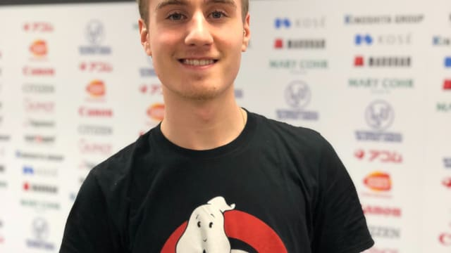 Matteo Rizzo in the mixed zone wearing his Ghostbusters t-shirt after his gala skate